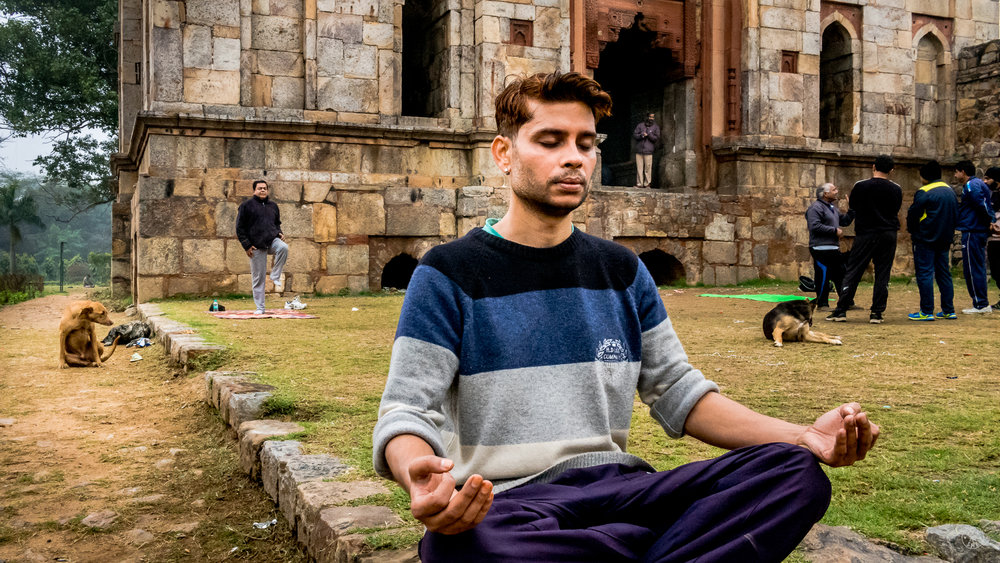 """Morning Meditation"".  New Delhi, India. January 2017. © Jon She. Leica M10, Leica Summilux 28mm f/1.4 ASPH."
