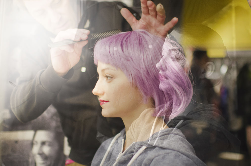perruque violette femme