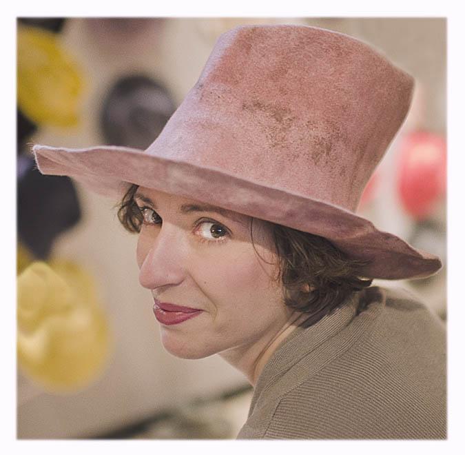 chapeau haut rose femme