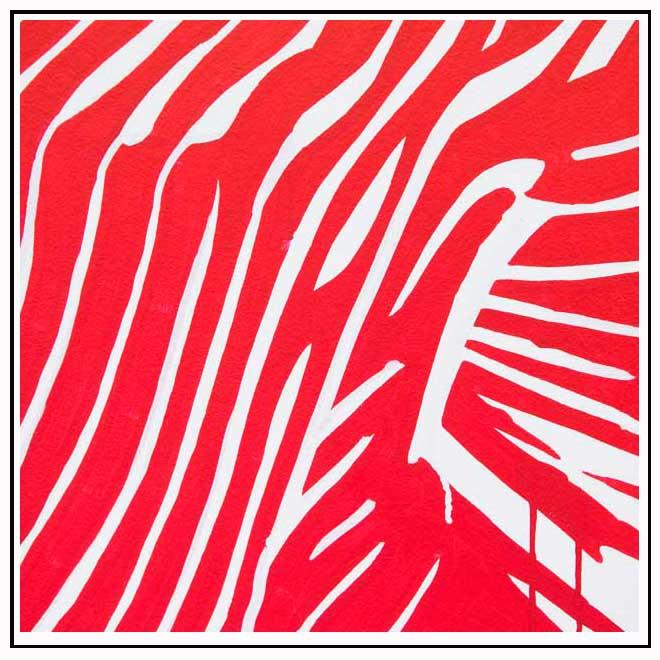 Toile artistique rouge et blanche