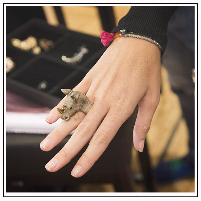 Bague rhinocéros et bracelet