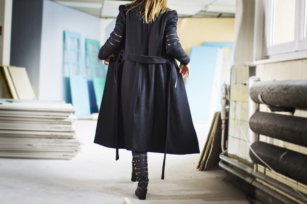 manteau long détails cuir Musty
