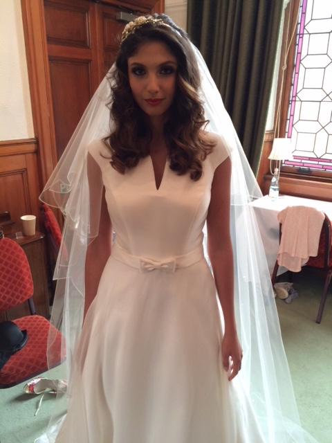 Our beautiful Jackie dress, with scattered crystal veil and Halo headpiece.
