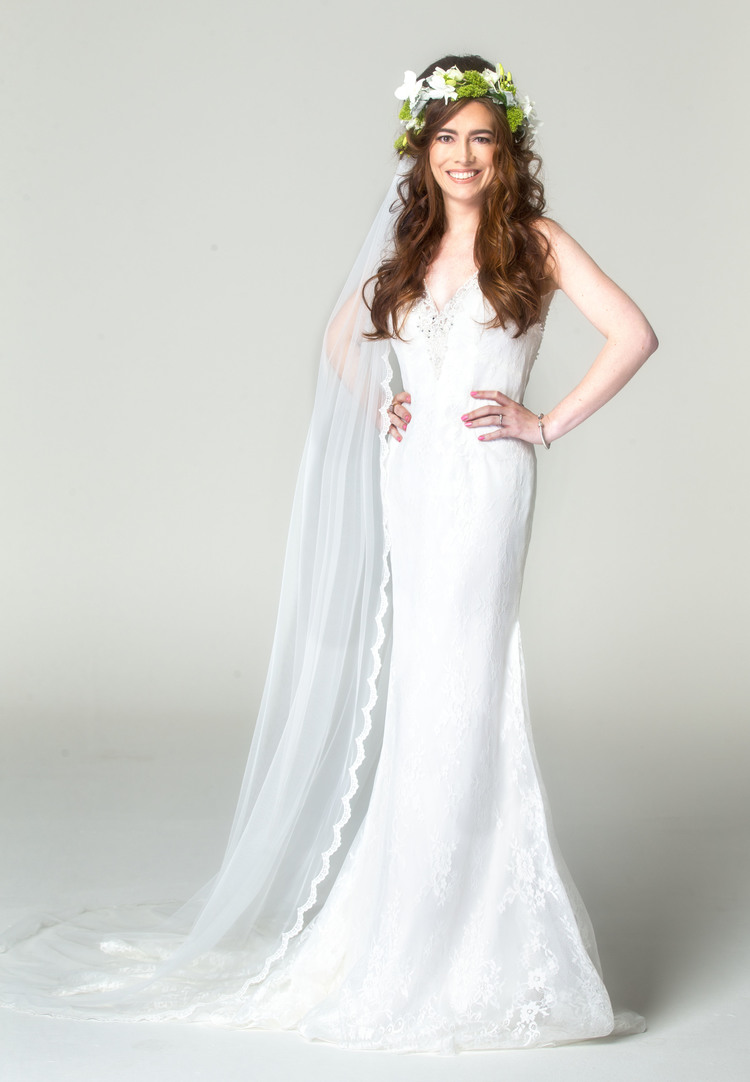 3cd272f9537 Lynn wearing the Perri dress by Sottero   Midgley and Charm lace edged veil.
