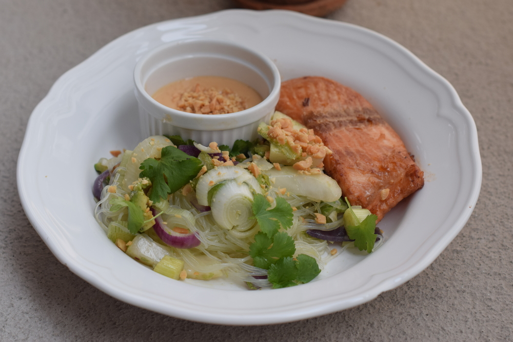 Teriyaki salmon, glass noodles with fennel and peanut sauce