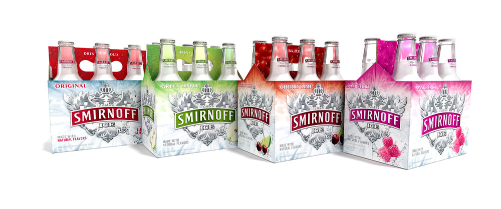 """Many entry level """"Legal Age Drinkers"""" prefer quenching their thirst with a fruity offering rather than beer. Shortly after its launch, Smirnoff ICE became the undisputed champ in the malt beverage segment. This design refresh places Smirnoff ICE in more natural and delicious flavor sphere. Real fruit images, depth of color and dialed up refreshment express the true taste of the liquid."""