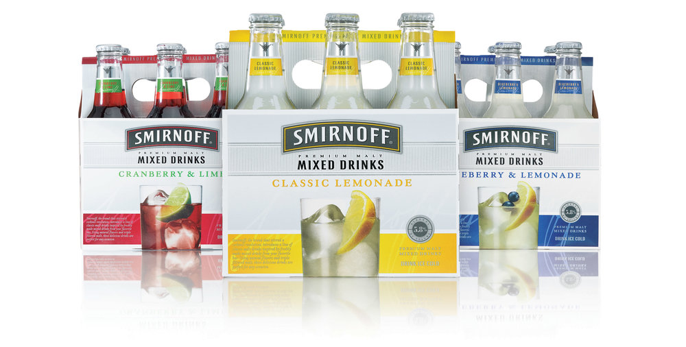 """The ever evolving RTD category requires innovation every year, something new in a category almost out of ideas. Together with the Innovation team and R&D we developed Smirnoff MIXED DRINKS, RTD's inspired by everyone's favorite simple summer cocktails. As COGS had to remain neutral, we needed to make the most of the existing RTD structure to bold say something """"new"""" has arrived.   Solution:  Rather than the bursting refreshment and flavor cues often seen, we took a """"spirited"""" approach, more refined and crafted look with an unexpected cocktail glass shot that made the consumer want to pour vs drink from the bottle.  The result:  Not only did this new variant perform beyond expectations, the design won the DIAGEO Best Packaging award that year...because while the liquid was fantastic, it was the the power of design that took it from refrigerator case to register - over and over again."""