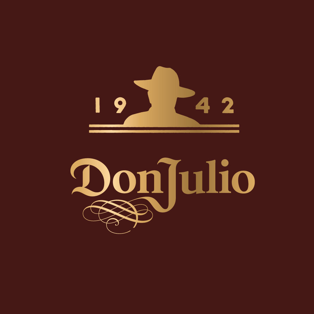 """Inspired by iconic photographs of Don Julio Gonźalez, the """"Man in the Hat"""" icon suggests the heritage that makes Don Julio possible. Specially drawn letterforms suggest the pattern of cut agave."""