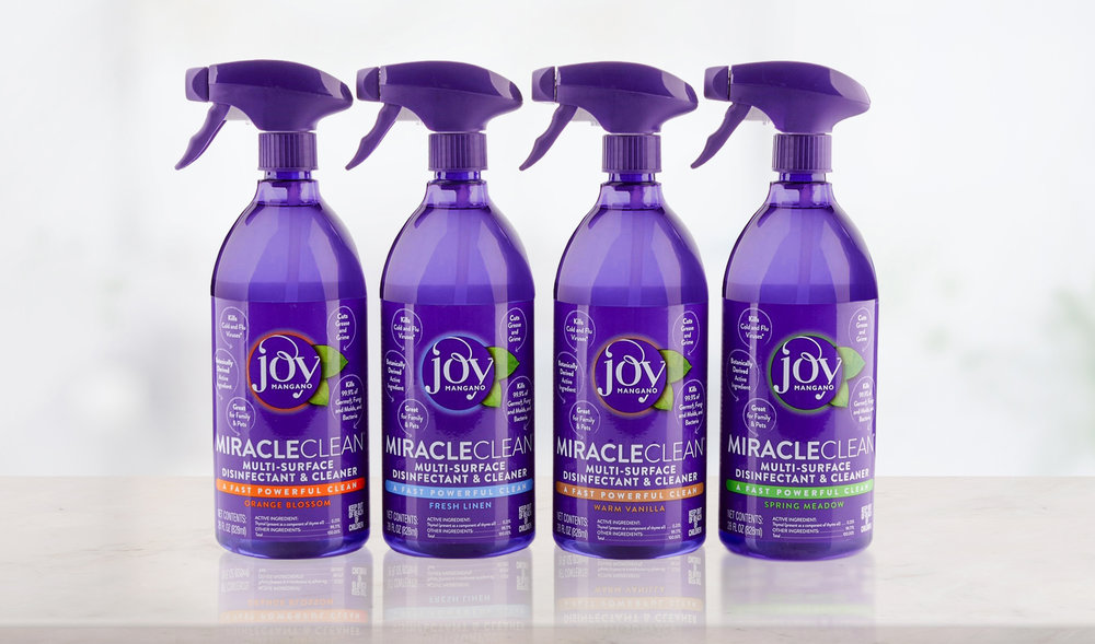 BrandtBrand designed the package for botanically derived  Joy MiracleClean ™ - The world's first truly effective alternative to toxic cleaners.