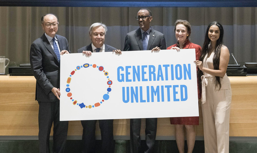 (left to right) President of the World Bank Group  Jim Yong Kim , UN Secretary-General  António Guterres , President of Rwanda  Paul Kagame , UNICEF Executive Director  Henrietta H. Fore  and UNICEF Goodwill Ambassador  Lilly Singh  participate in a High-Level event on Youth2030 to launch the the Generation Unlimited Partnership.  Image © UNICEF/UN0237896/Garten