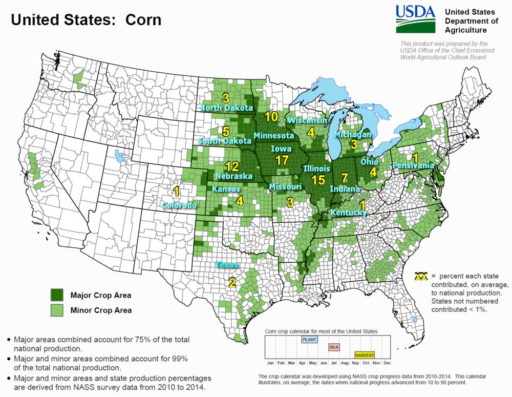 World Crops Maps Calendar COFU Trading - Us crop map