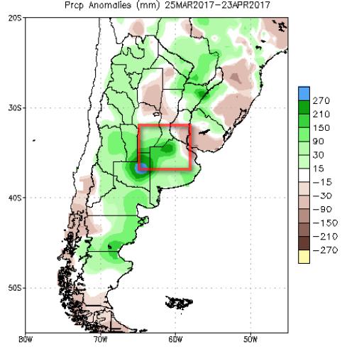 Аномалия осадков в Аргентине за последние 30 дней. Красным обозначена зона риска.