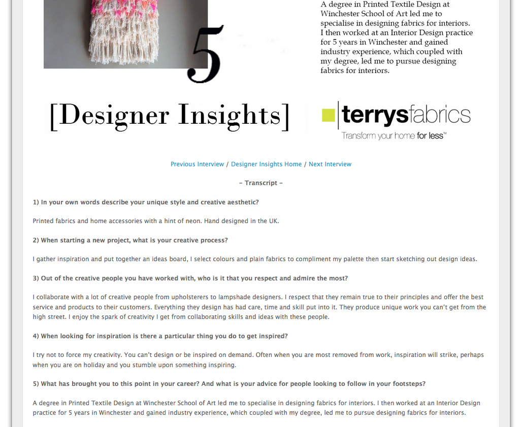 Designer Insights Blog Feature May 2015 // Fabric & Homewares