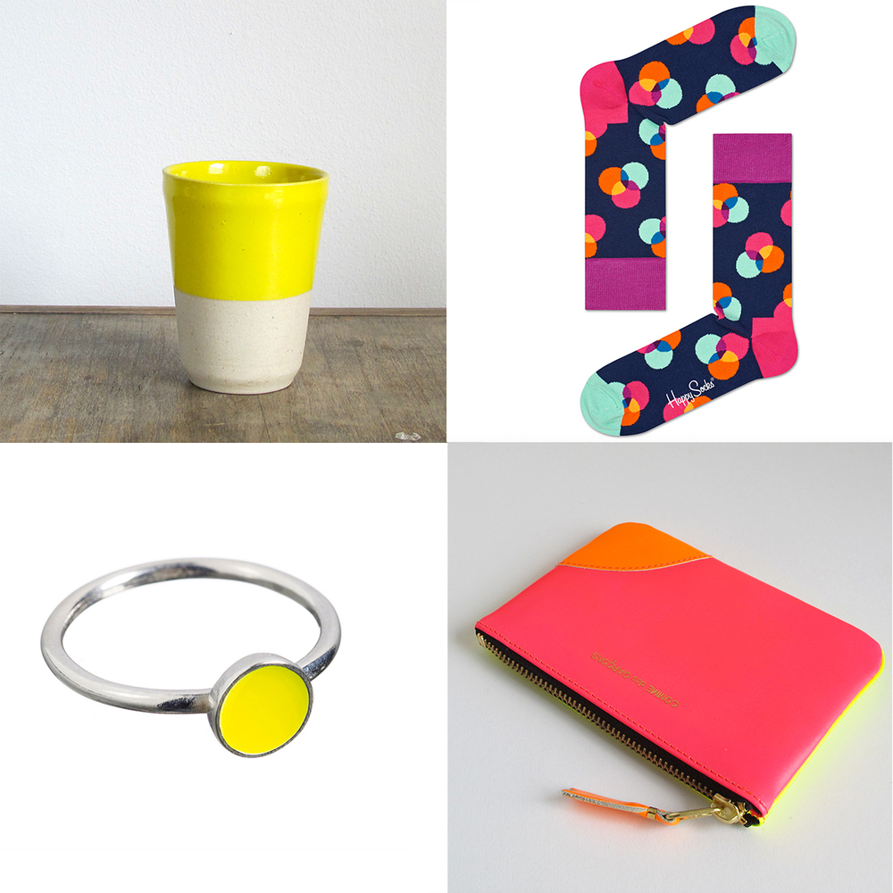 Clockwise from top left: Manufacture // Yellow Tumbler, Happy Socks // Spectrum Navy, Comme des Garcons // Wallet Fluoro Pink & Yellow, Scherning // Dot Ring Yellow