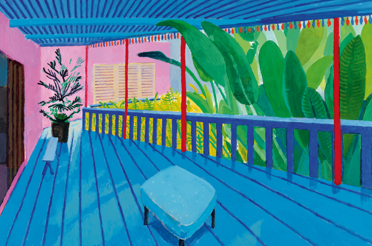 Garden with Blue Terrace 2015. Acrylic paint on canvas.