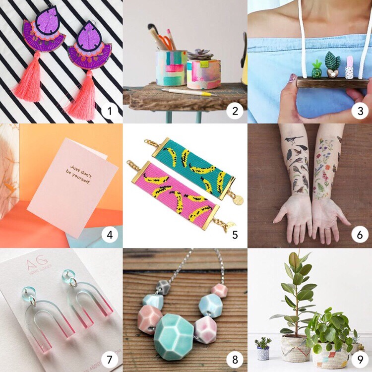 The nine finalists for Product of the Year 2018 -  1  :  Dakota Rae Dust   2  : BON  3  :  Wren & Wilson   4  :  Mean Mail    5:   Shh by Sadie   6 :  Little Paisley Designs   7  :  Abbie Gaiger   8 :  J  ade Gallup Studio   9  :  La Basketry