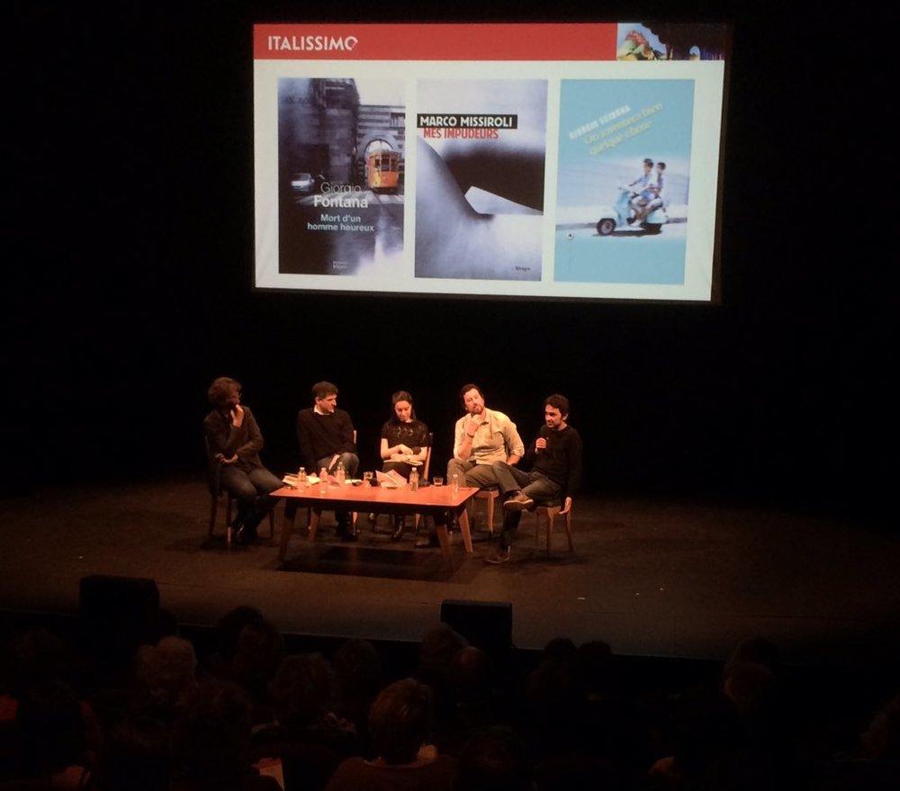 ... une discussion entre les jeunes écrivains Giorgio Fontana,Marco Missiroliet Giorgio Sciannarécemment traduits en français ...