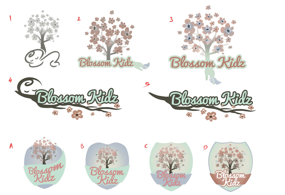 First logo design concepts - pastel, flowers, children, coat of arms
