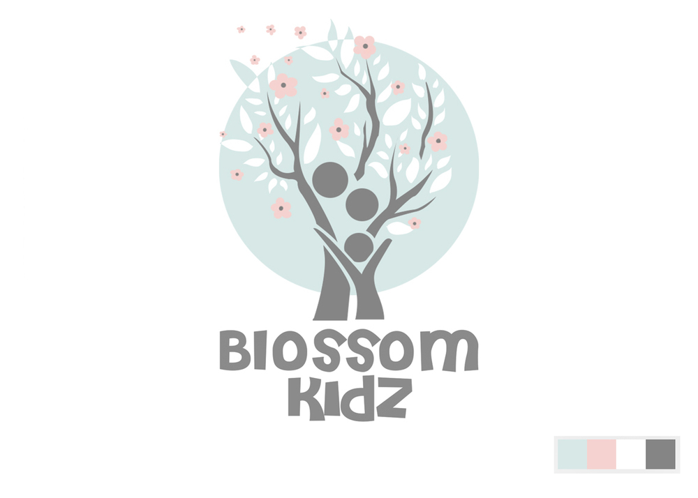 Blossom Kidz logo design, pastel, flowers, branding