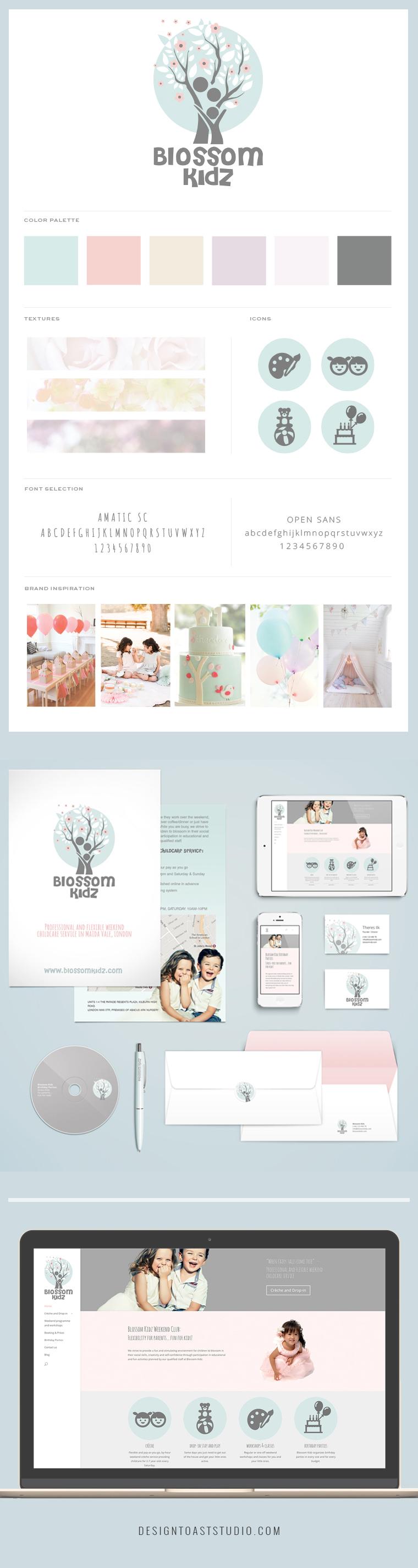 Blossom Kidz Branding Web Design Stationary Feminine Floral Brand Children