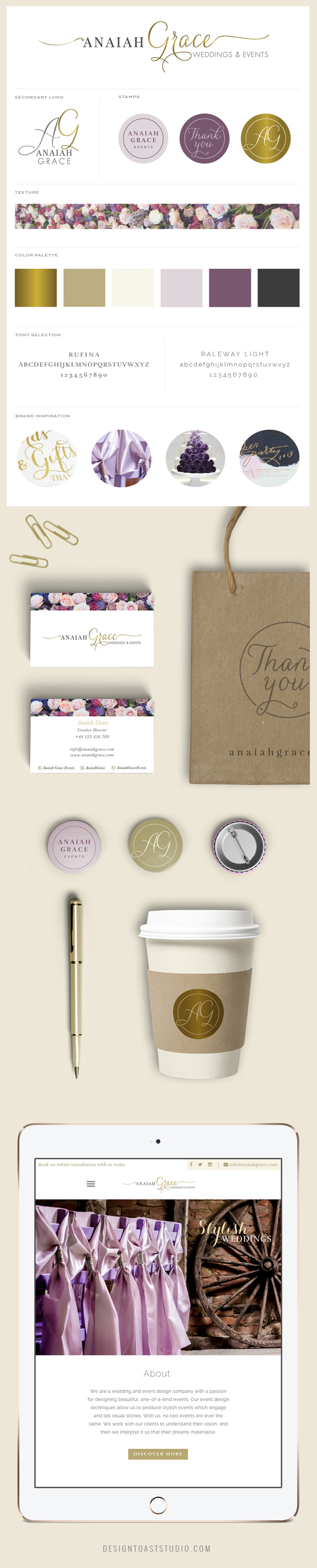 Anaiah Grace Event Design Event Planning Branding + Web Design Stationary Floral Feminine Lettering Brand