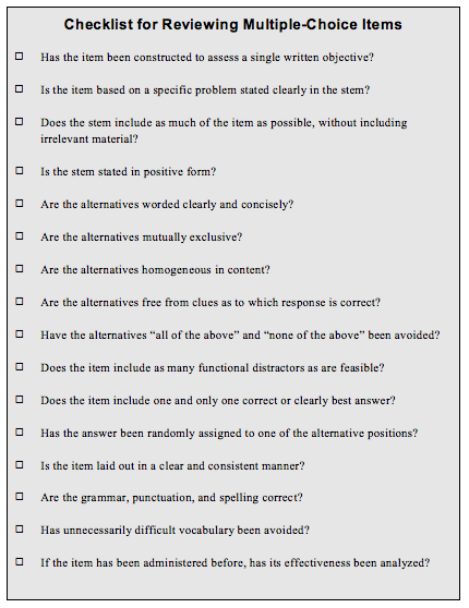 Mutliple-Choice Checklist From Brigham Young University Testing Services