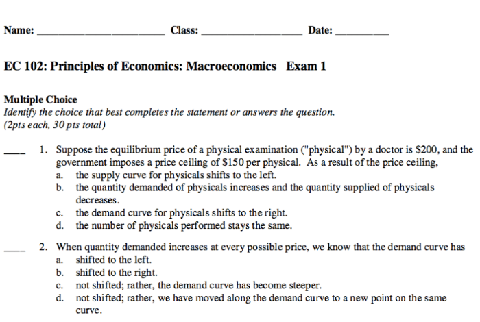 Picture of part of one of my practice exams from Macroeconomics