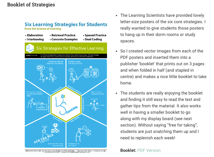 From post: Learning to Learn: Student Study Strategies for Success! -- Liesel Knaack
