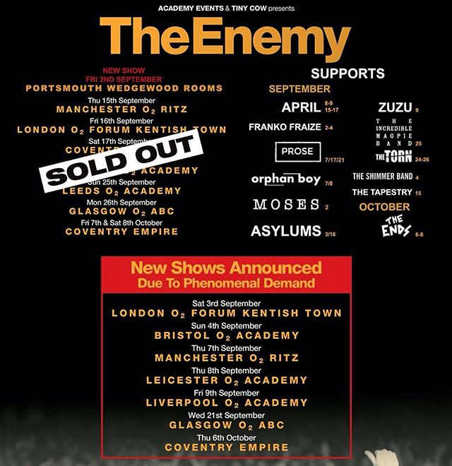 ✨Pleased to announce we'll supporting @theenemyband @o2academybris September 4th!✨Only a few tickets left!✨#theshimmerband #rock #rocknroll #pop #psychedelic #gig #tour #festival #band #new #newmusic #music #2016 #bristol #guitar #bass #drums #synth #radio #loud #live #uk #indie #nme