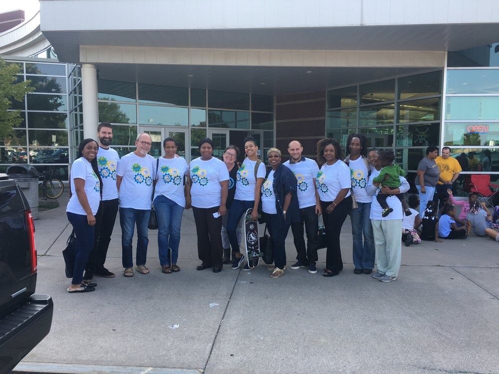 Community residents outside the Ryan Center before the Rochester City School District Board of Education meeting on August 23rd, 2018.