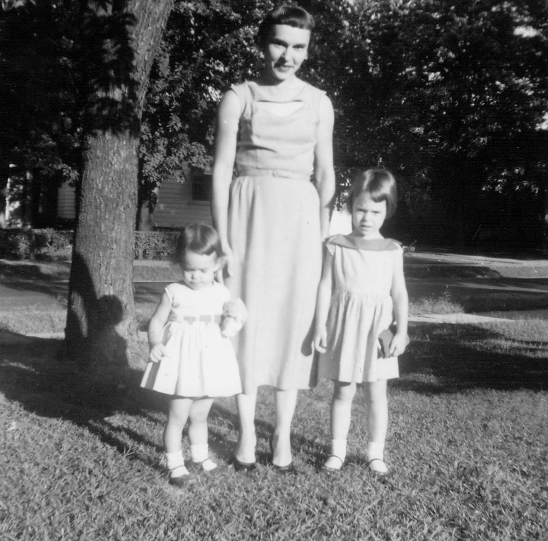 My Mom Helen with my sister Barb and me, 1958, West Frankfort, Illinois