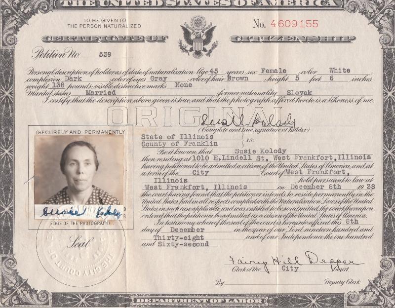 My Grandma Susie became a U.S. citizen in 1938.