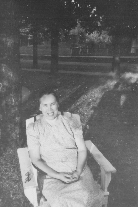 My Grandma Susan Kolody in their front yard