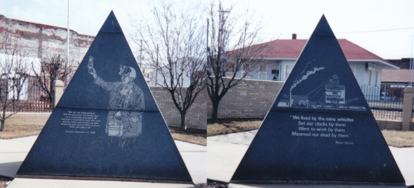A memorial to coal miners on Main Street in West Frankfort, Illinois, my hometown