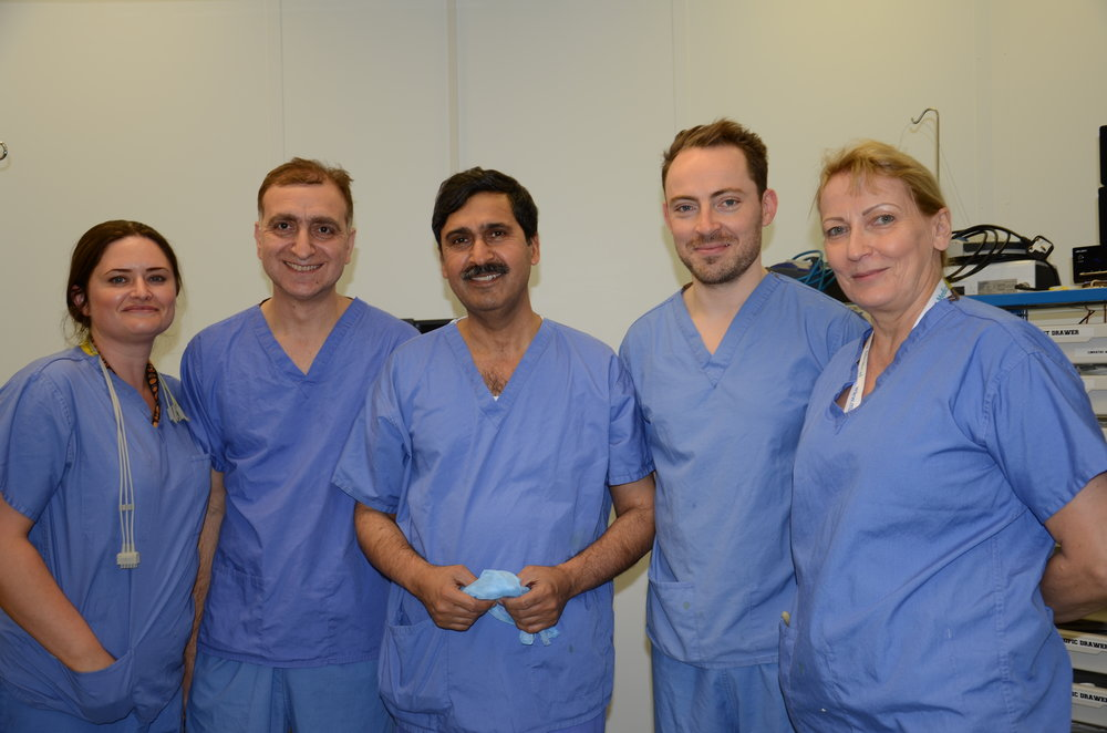 (left to right) - Michelle, Dr Aseem Tufchi, Mr Riaz, Mr Will Holmes, Annette Middleton