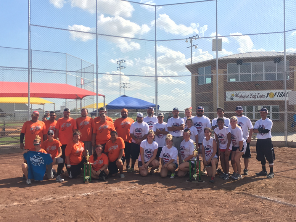 Congratulations to the COED Class D Champion-Shockers 25 (white shirts) and runner up- Slo-Pokes 18 (orange shirts)