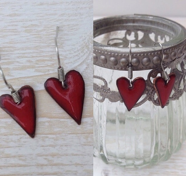 Enamel on Copper Hearts £20