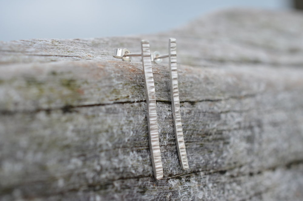 Silver Hammer Textured Long Earrings £25