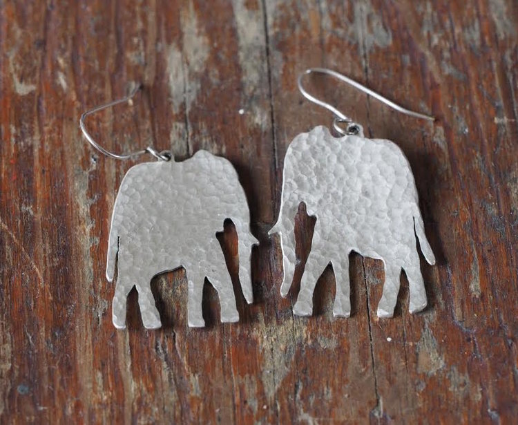 Silver Hammered Elephant Earrings £35-£40