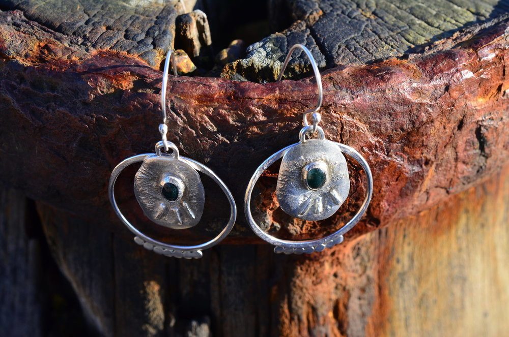 Silver & Moss Green Agate Earrings £110 (Sold)