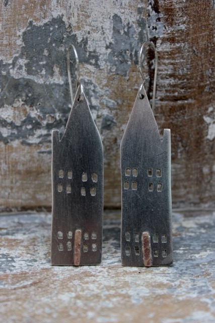 Silver & Copper House Earrings £70