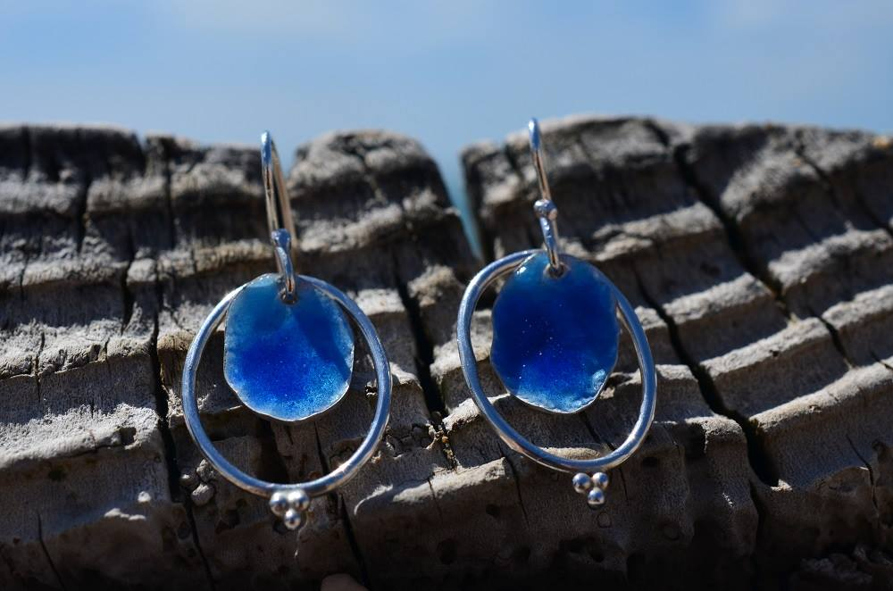 Deep Blue Enamel & Silver Earrings £55 (sold)