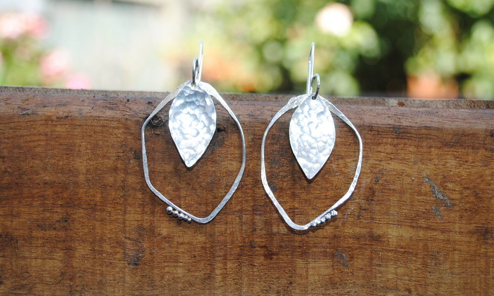 Silver Hammer Textured Oval Point Earrings £50