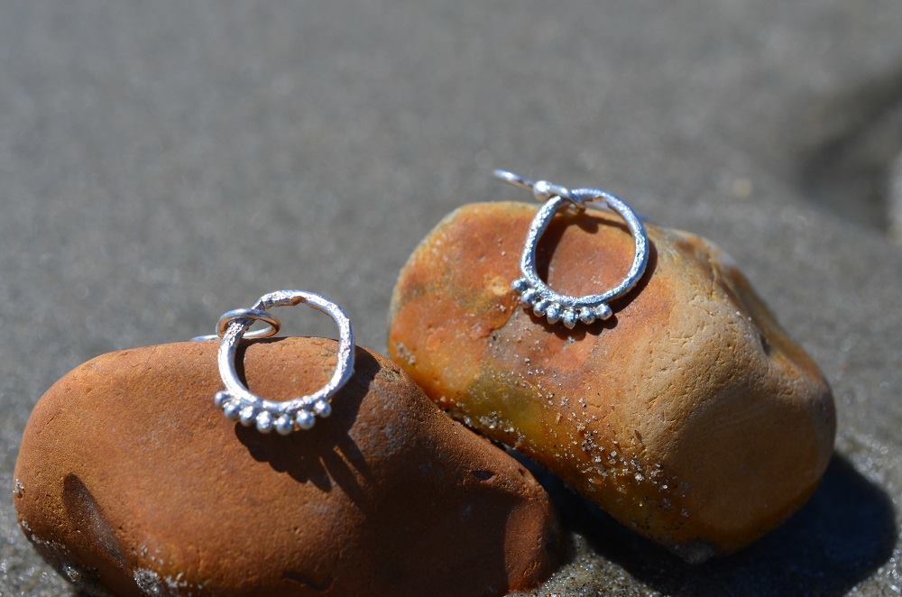 Silver Rustic Granule Hollow Earrings £22.50
