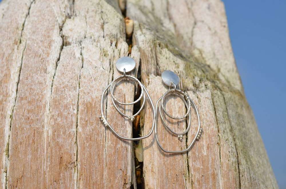 Silver Multi Hoop and Granule Earrings £70