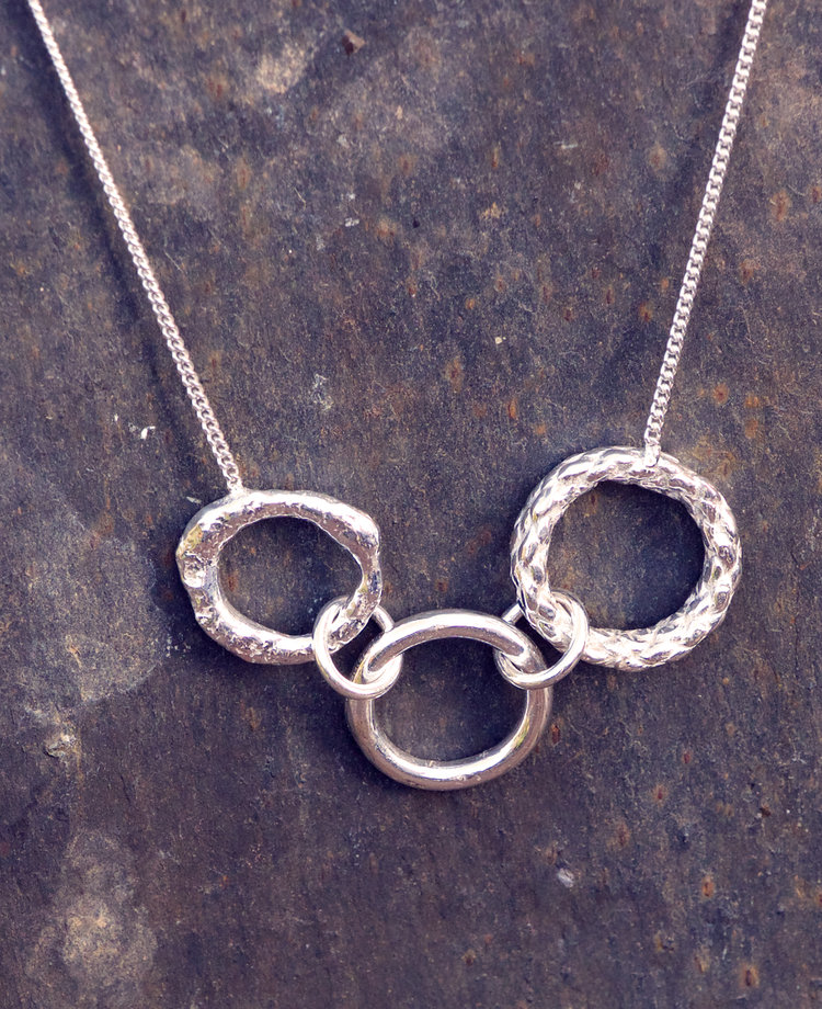 Silver Three Circle & Texture Pendant £80. (Sold)