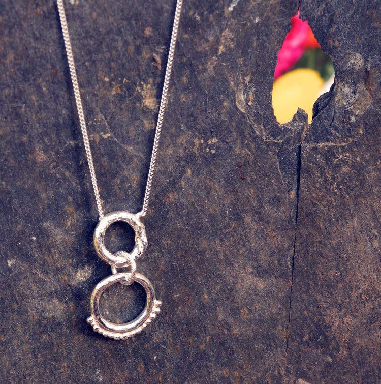 Silver Texture and Granule 2 Circle Pendant £40 (Sold)