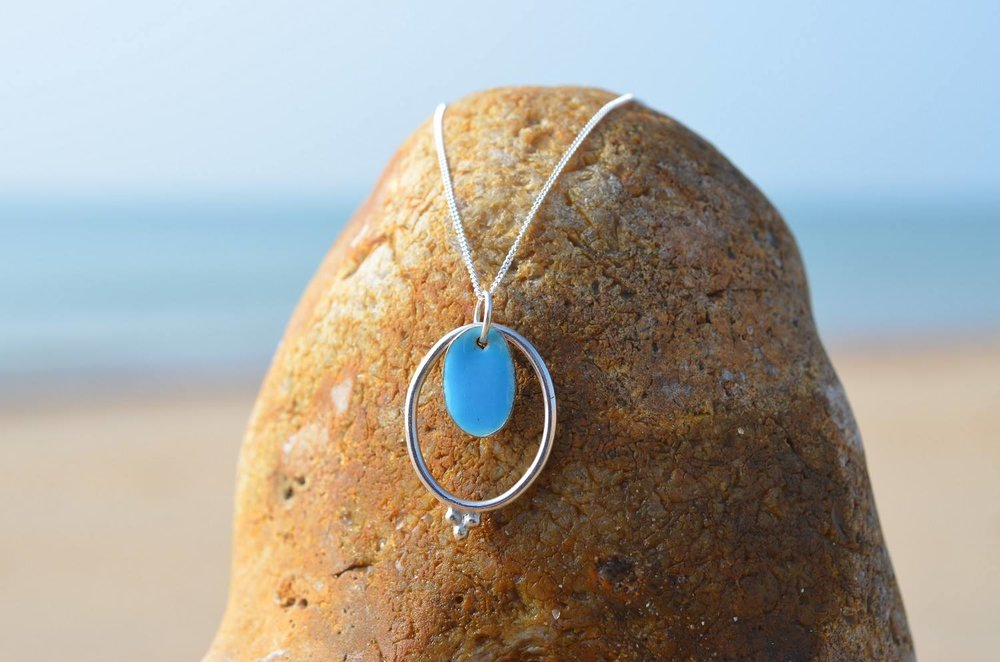 Turquoise Blue Enamel and Silver Oval Pendant £45