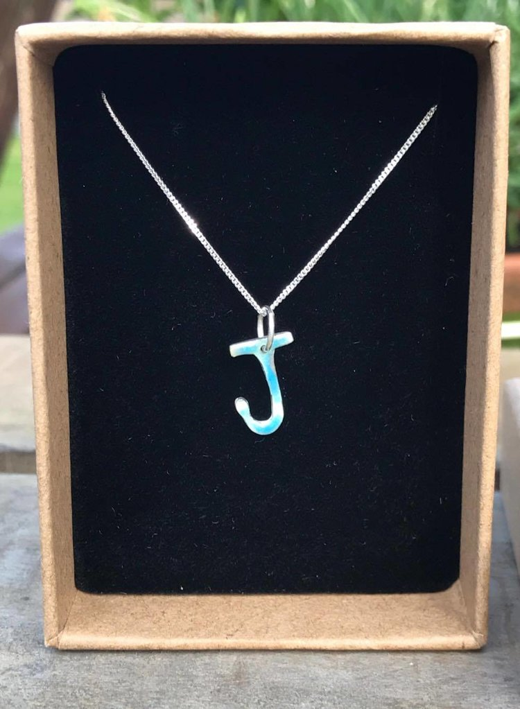 Silver Initial Pendant with Enamel £40 (Sold)