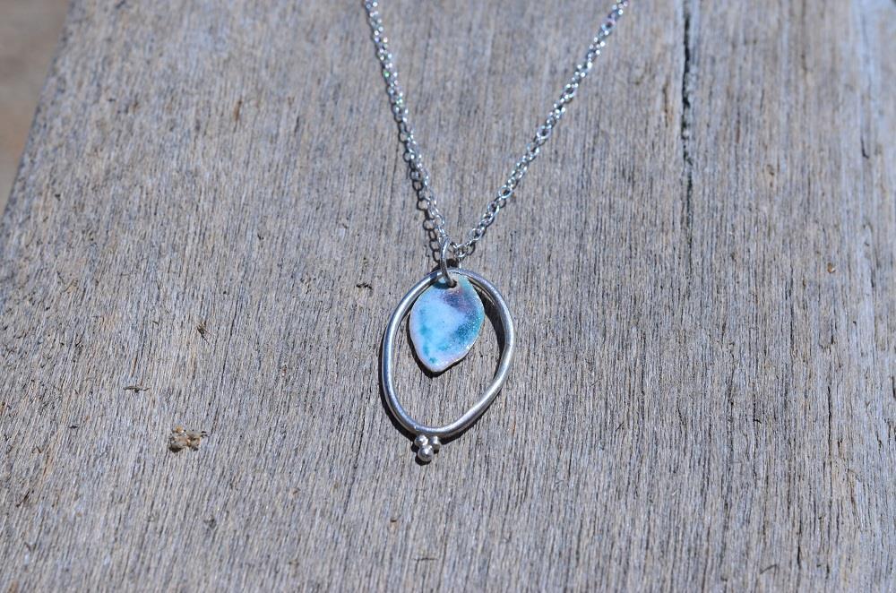 Silver & Pastel Enamel Oval Granule Pendant. £44